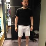 夏っぽく白のハーフパンツを選択☆